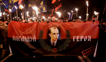 marsz banderowców na Ukrainie/fot. twitter