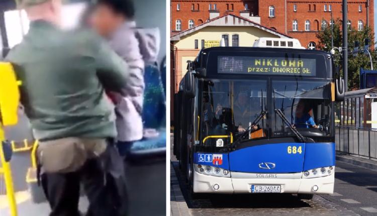 Po lewej murzynka szarpiąca się z polskim kontrolerem biletów w Bydgoszczy, a po prawej autobus bydgoskiej komunikacji miejskiej