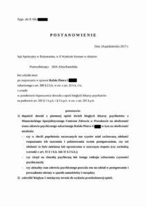 Postanowienie Sądu Apelacyjnego ws. Rafała G.