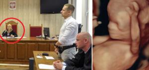 Po lewej sędzia Agnieszka Modzelewska, po prawej Jacek Międlar i mec. Przemysław Rychlicki. Drugie zdjęcie, to dziecko w 20. tygodniu ciąży / Fot. Youtube