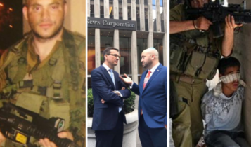 Od lewej Jonny Daniels w armii izraelskiej, z Mateuszem Morawieckiem, a następnie żydowski żołnierz wykorzystujący palestyńskiego chłopca jako żywą tarczę