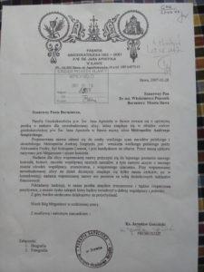 Wniosek greckokatolickiego proboszcza Jarosława Gościńskiego o nadanie ulicy nazwy Metropolity Andrzeja Szeptyckiego