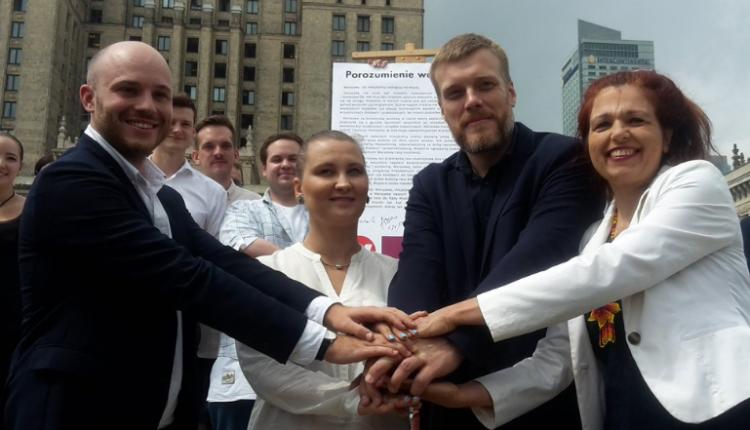 Razem, Inicjatywa Polska, stowarzyszenie Wolne Miasto Warszawa i Zieloni/ fot. twitter