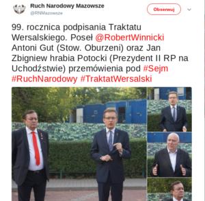 Ruch Narodowy Mazowsze o spotkaniu z Janem Potockim / Fot. Twitter