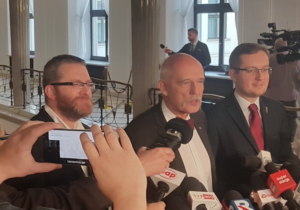 Grzegorz Braun, Janusz Korwin-Mikke, Robert Winnicki/ fot. twitter