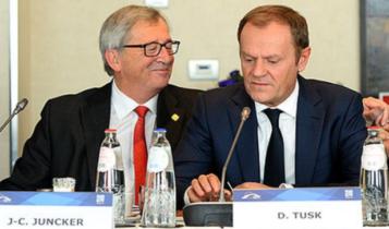 Jean-Claude Juncker i Donald Tusk/ fot. screen