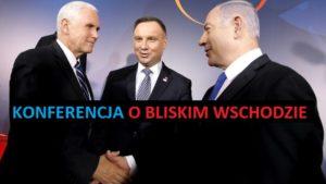 Mike Pence, Andrzej Duda i Benjamin Netanjahu na konferencji o Bliskim Wschodzie / Fot. Twitter