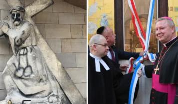 Sprofanowana figura katowickiej kalwarii i odsłonięcie synagogalnej szyby