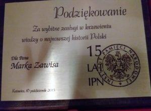 Nagroda IPN-u dla Marka Zawisa, nauczyciela historii Szkoły Podstawowej im. Noblistów Polskich w Pyskowicach