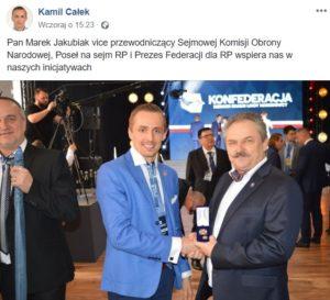 Jeszcze wczoraj Kamil Całek cieszył się z poparcia Marka Jakubiaka w Konfederacji