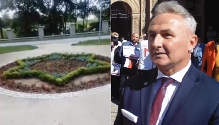 Gwiazda Dawida przy Bramie Wrocławskiej w Brzegu i burmistrz Jerzy Wrębiak