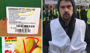 Po lewej u góry informacja w sprawie pochodzenia produktu, a na dole fałszywa informacja w materiałach marketingowych. Po prawej stronie: Michał Kołodziejczak