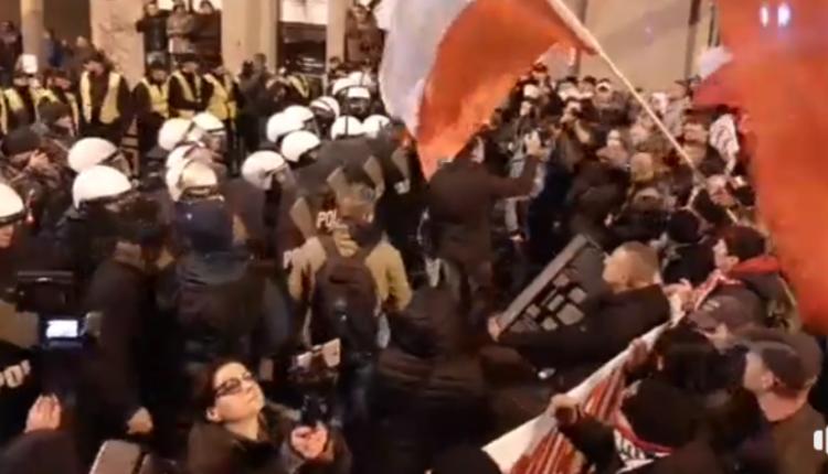 pacyfikacja marszu we Wrocławiu 2019/ fot. screen