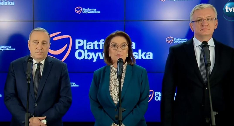 Grzegorz Schetyna, Małgorzata Kidawa Błońska, Jacek Jaśkowiak/ fot. screen