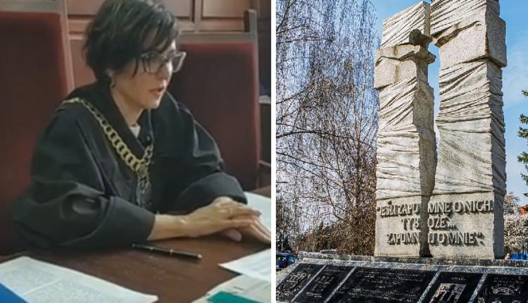 Sędzia Dominika Romanowska i pomnik ofiar OUN-UPA we Wrocławiu