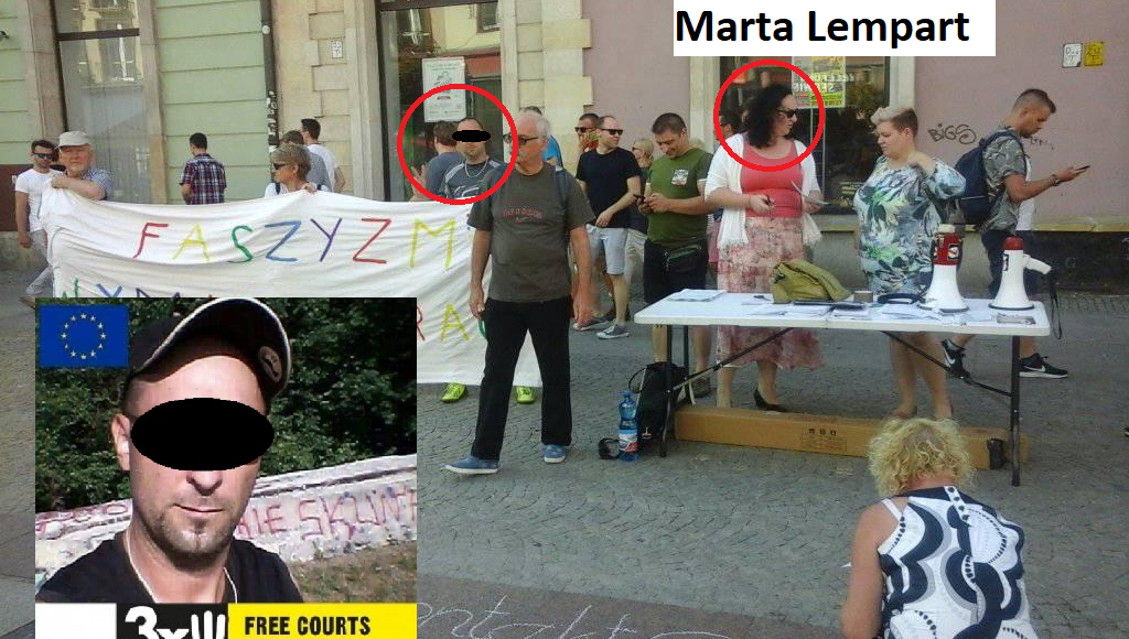 Krzysztof P. podczas skandalicznej pikiety Marty Lempart przeciwko Jackowie Międlarowi. Odśpiewywano wtedy pieśni na cześć komunistów