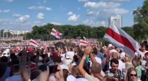 antyrządowa manifestacja w Mińsku/ fot. screen