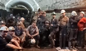 """podziemny protest górników w kopalni """"Wujek""""/ fot. Twitter"""