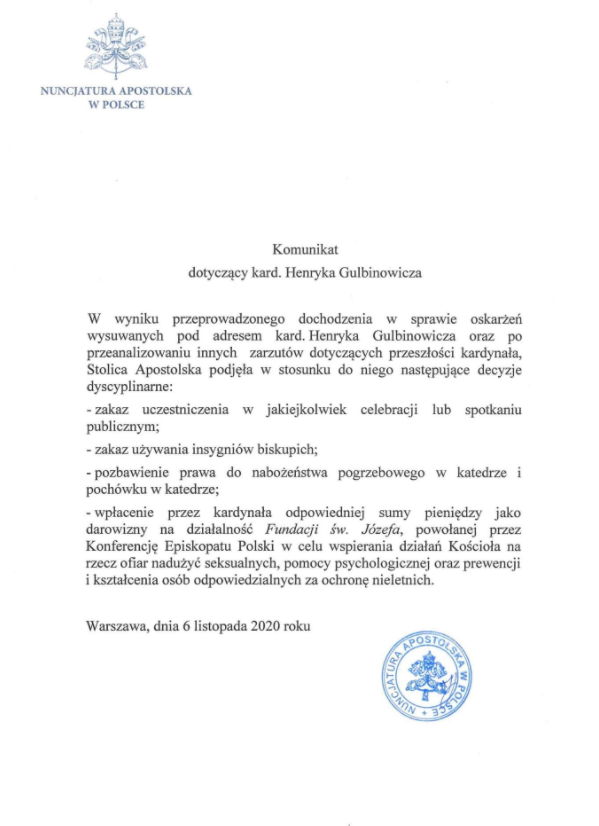 Komunikat Nuncjatury Apostolskiej w Polsce ws. kard. Gulbinowicza