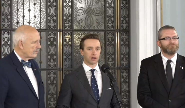 Janusz Korwin-Mikke, Krzysztof Bosak, Grzegorz Braun/ fot. screen